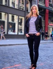 Street Style New York: Preppy Stripes Meet Edgy Leather