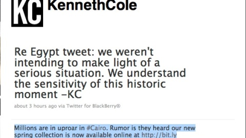 Is Kenneth Cole Crossing the Twitter Line with Egypt Comment   StyleCaster