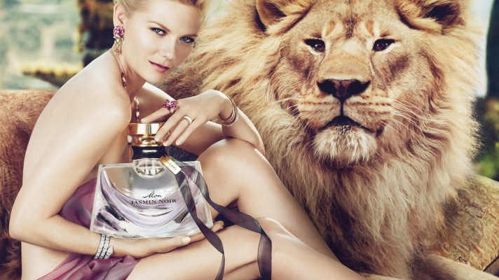 Kirsten Dunst Naked, With Lion for Bulgari