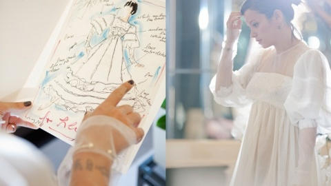 Karl Lagerfeld Designed Lily Allen's Wedding Party Dress! | StyleCaster