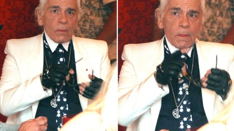 Karl Lagerfeld Looks Adorably Clueless Without Sunglasses | StyleCaster