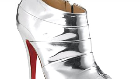 Christian Louboutin Mirror Silver Open-Toe Booties   StyleCaster