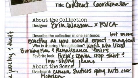NY Fashion Week 09: Erin Wasson X RVCA | StyleCaster