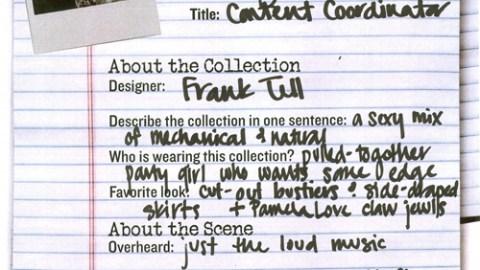 NY Fashion Week 09: Frank Tell   StyleCaster