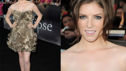 Anna Kendrick Gets Her Metallic On In A Gold Ruffled Mini   StyleCaster