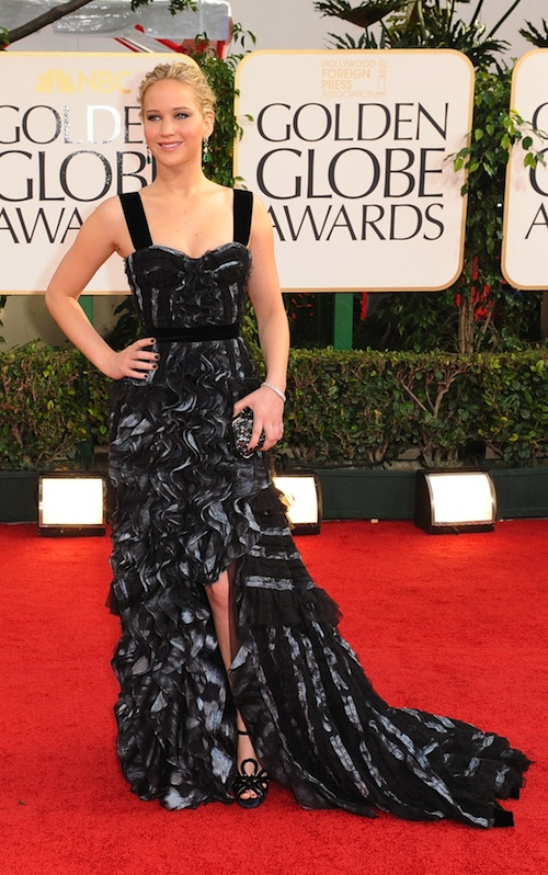 Jennifer Lawrence looks lovely and ready carpet ready, play it again sam.