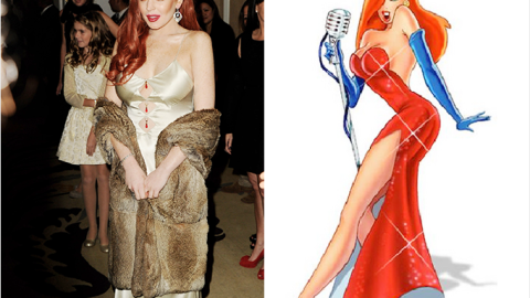 """Lindsay Lohan Seemed to Have Been Taking Style Tips From Jessica Rabbit at """"Liz & Dick"""" Premiere   StyleCaster"""