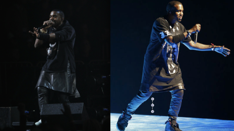 Kanye West Repeats Givenchy Leather Skirt Look at Hurricane Sandy Benefit Concert | StyleCaster