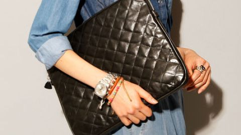 Want: A Quilted Leather Clutch That Doubles As A Laptop Case | StyleCaster