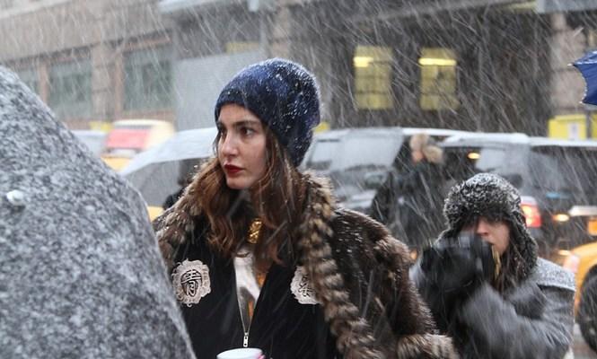 Snowy street style at New York Fashion Week: Outside Rag & Bone