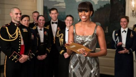 Michelle Obama Wears Silver Naeem Khan Dress For Surprise Oscars Appearance   StyleCaster
