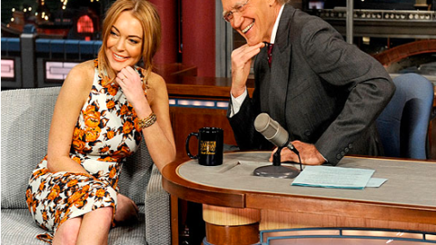 Lindsay Lohan Wears Suno Floral Dress And Cries on Letterman | StyleCaster