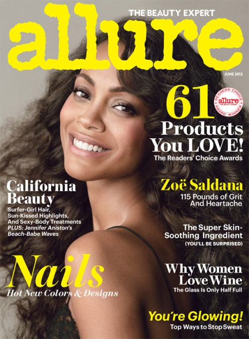 jun cover Zoe Saldanas Weight Revealed on New Allure Cover, Poses Naked Inside Mag