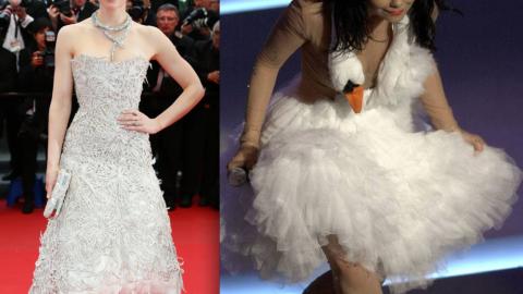 Jessica Biel Has Her Björk Swan Dress Moment In Marchesa | StyleCaster