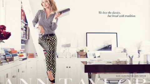 Kate Hudson Climbs A Ladder In Patterned Pants For New Ann Taylor Ads | StyleCaster