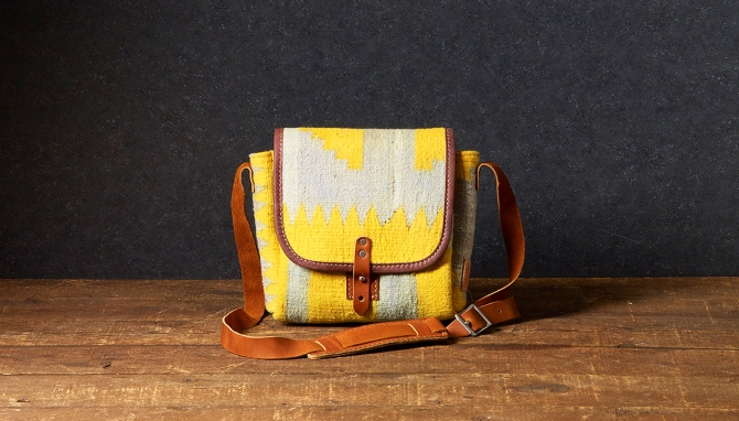 will leather dhurrie bag
