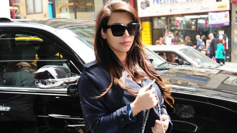 Kim Kardashian's First Photos With North West: Baggy Denim Shirt, Huge Hermès Bag | StyleCaster