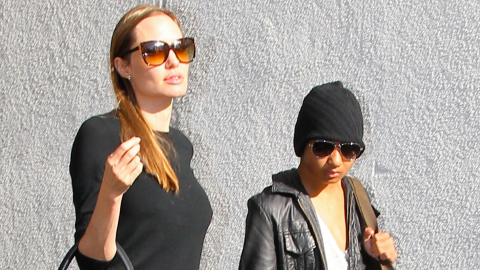 All Grown Up: Maddox Jolie-Pitt Wears Deep V-Neck and Leather Jacket   StyleCaster