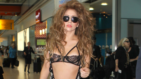 Lady Gaga Wears A Topless Sheer Versace Jumpsuit On Transatlantic Flight | StyleCaster