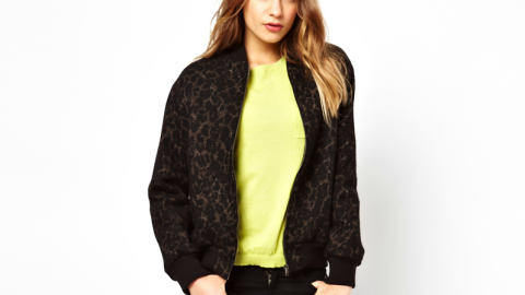 Want: A Soft Wool Bomber With a Subtle Leopard Print (On Sale!) | StyleCaster