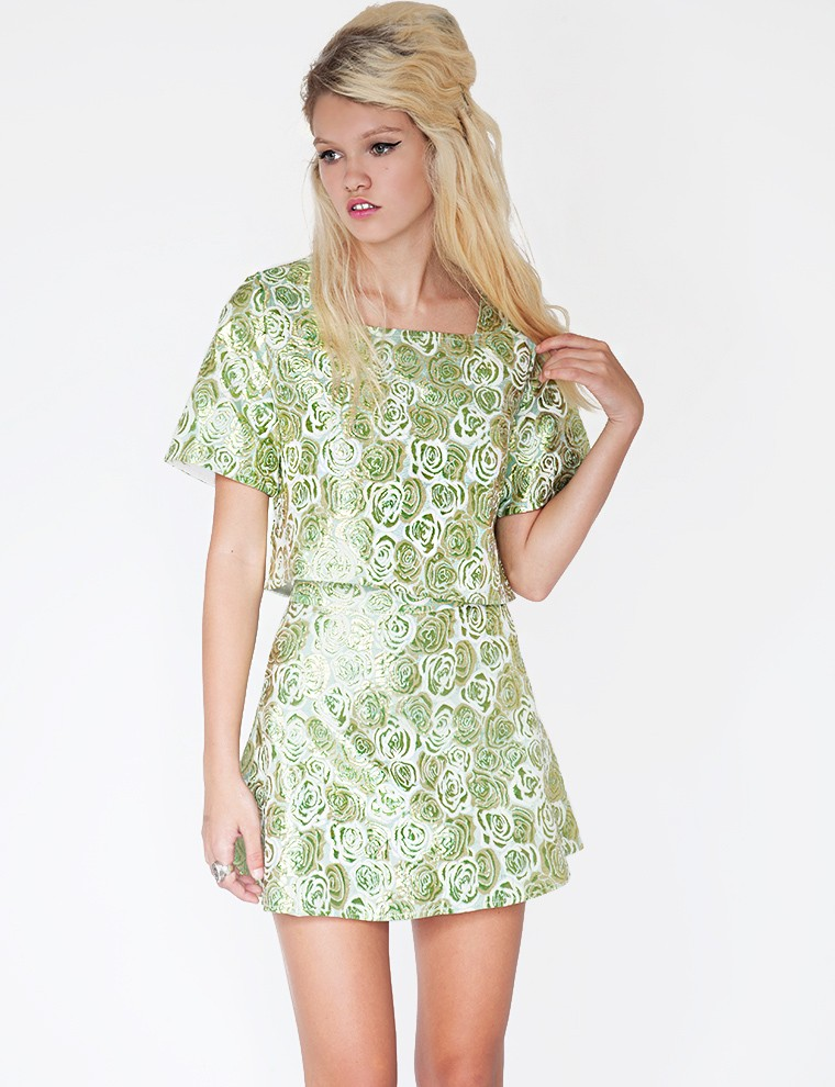 a cute brocade two-piece outfit