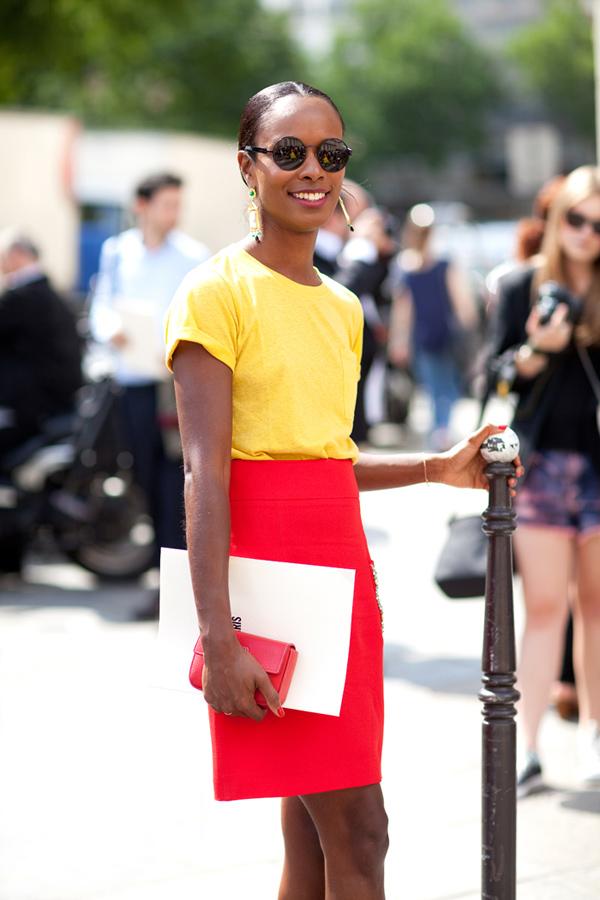 shala monroque yellow top red skirt