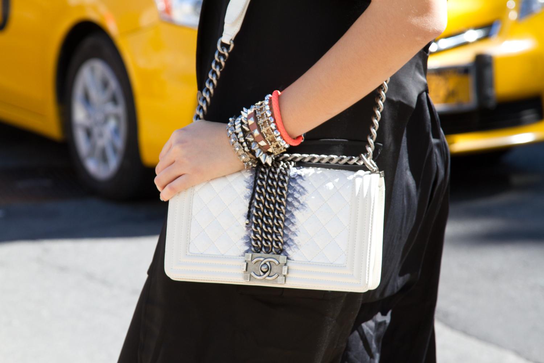 chanel bag street style fashion week
