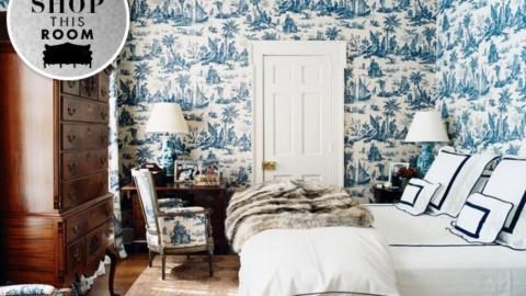 Shop This Room: Aerin Lauder's Toile Filled Guest Bedroom | StyleCaster