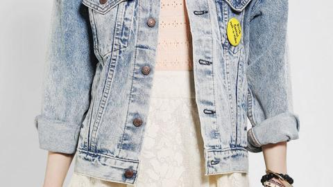 Want: A Vintage Denim Jacket Covered in '80s-Style Pins   StyleCaster