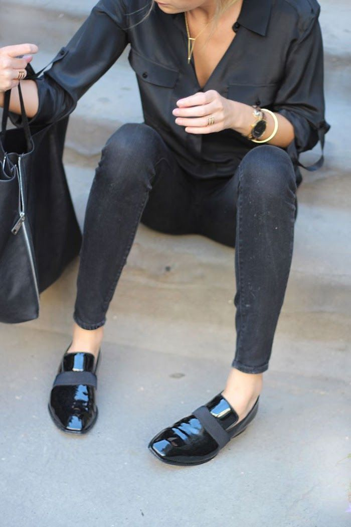 leather loafers seen on a street style star at fashion week