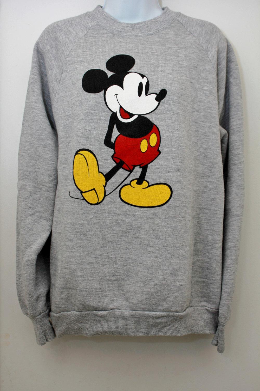mickey mouse gray sweatshirt How Fashion Stars Wear Mickey Mouse Tops