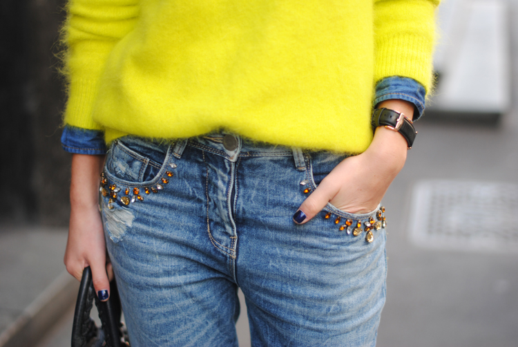 neon cashmere sweater seen on a street style star at fashion week