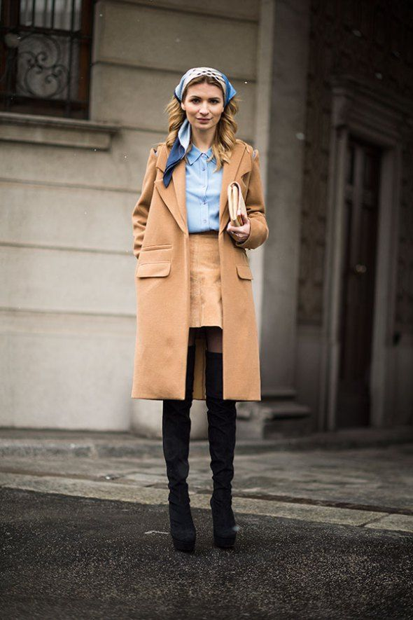 camel coat How To Wear Thigh High Boots: 5 Tips for Looking Totally Chic, Not Totally Cheap