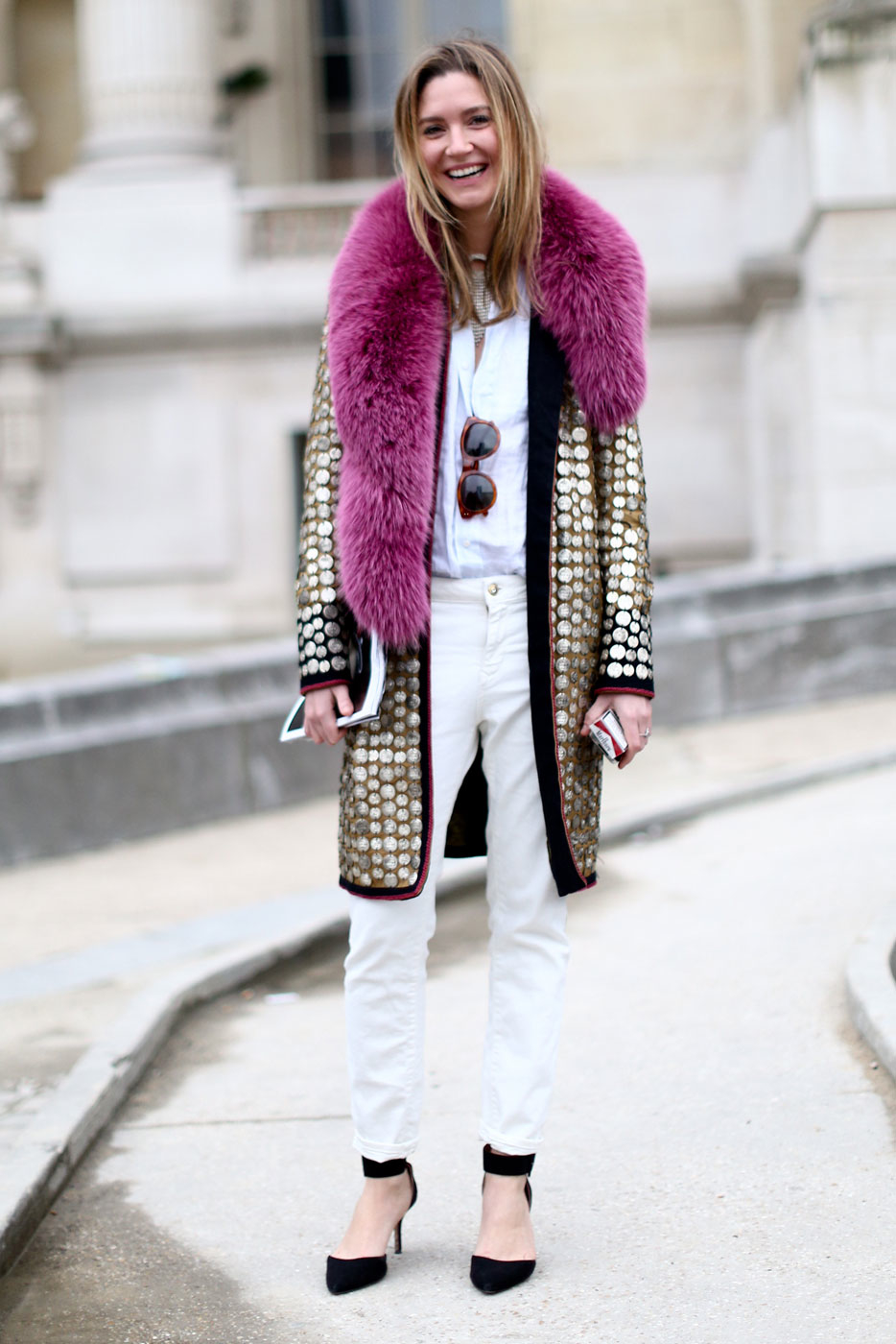 white jeans winter Winter Outfit We Love: This Gal Pairs White Jeans With Colored Fur