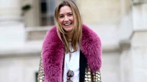 Winter Outfit We Love: This Gal Pairs White Jeans With Colored Fur | StyleCaster