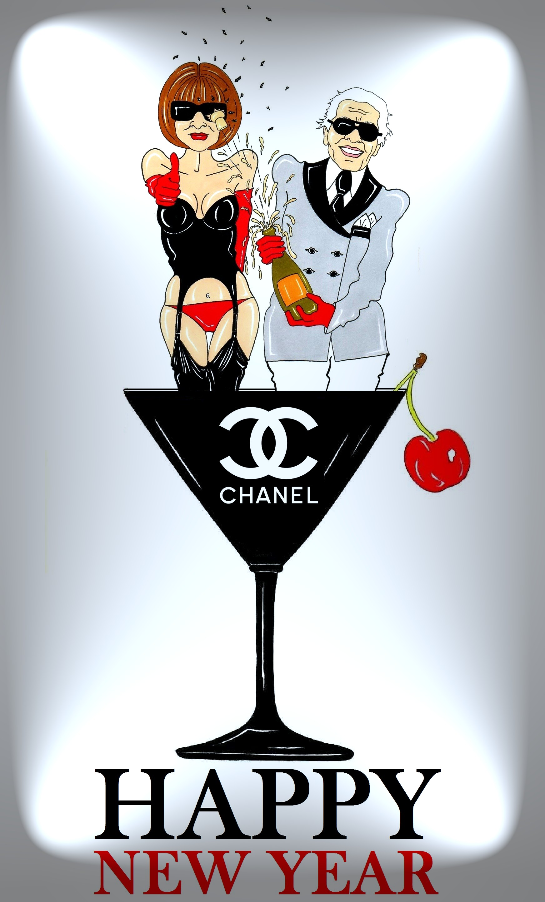 CHANEL Creeting Card Iconic Vogue Anna Wintour and Karl Lagerfeld Happy New Year Art Fashion Luxury Portrait Painting Cartoon Illustration Satire Sketch Icon Legend Humor Chic by aleXsandro Palombo