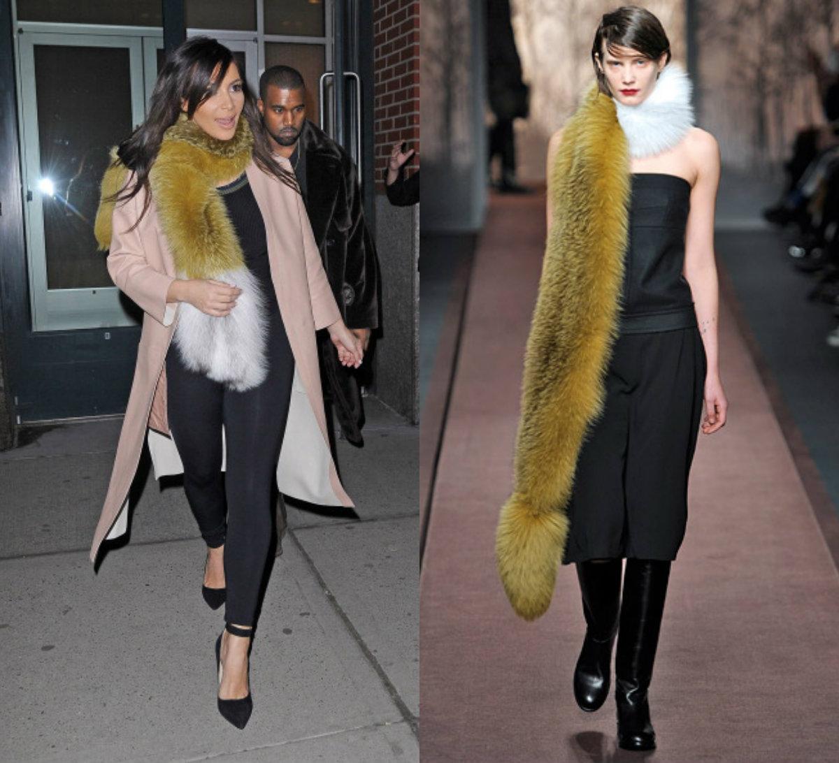 kim k marni scarf Kim Kardashian Stepped Out in a $4,000 Marni Fur Scarf: See It Here