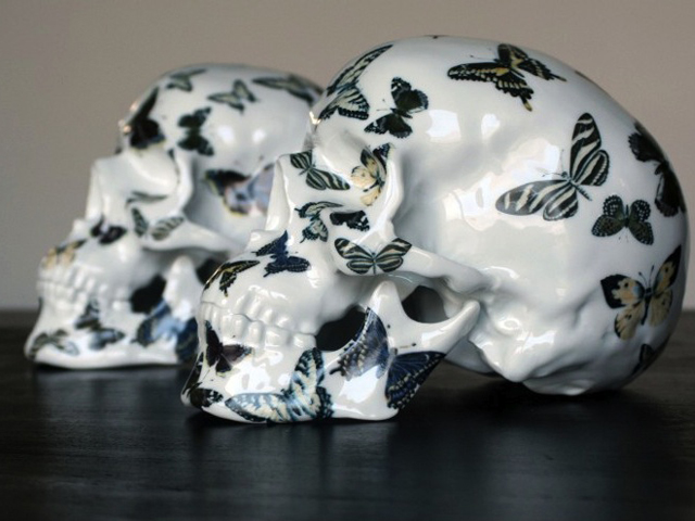 skull butterfly by noon Stuff We Love: Creepy But Chic Porcelain Skulls