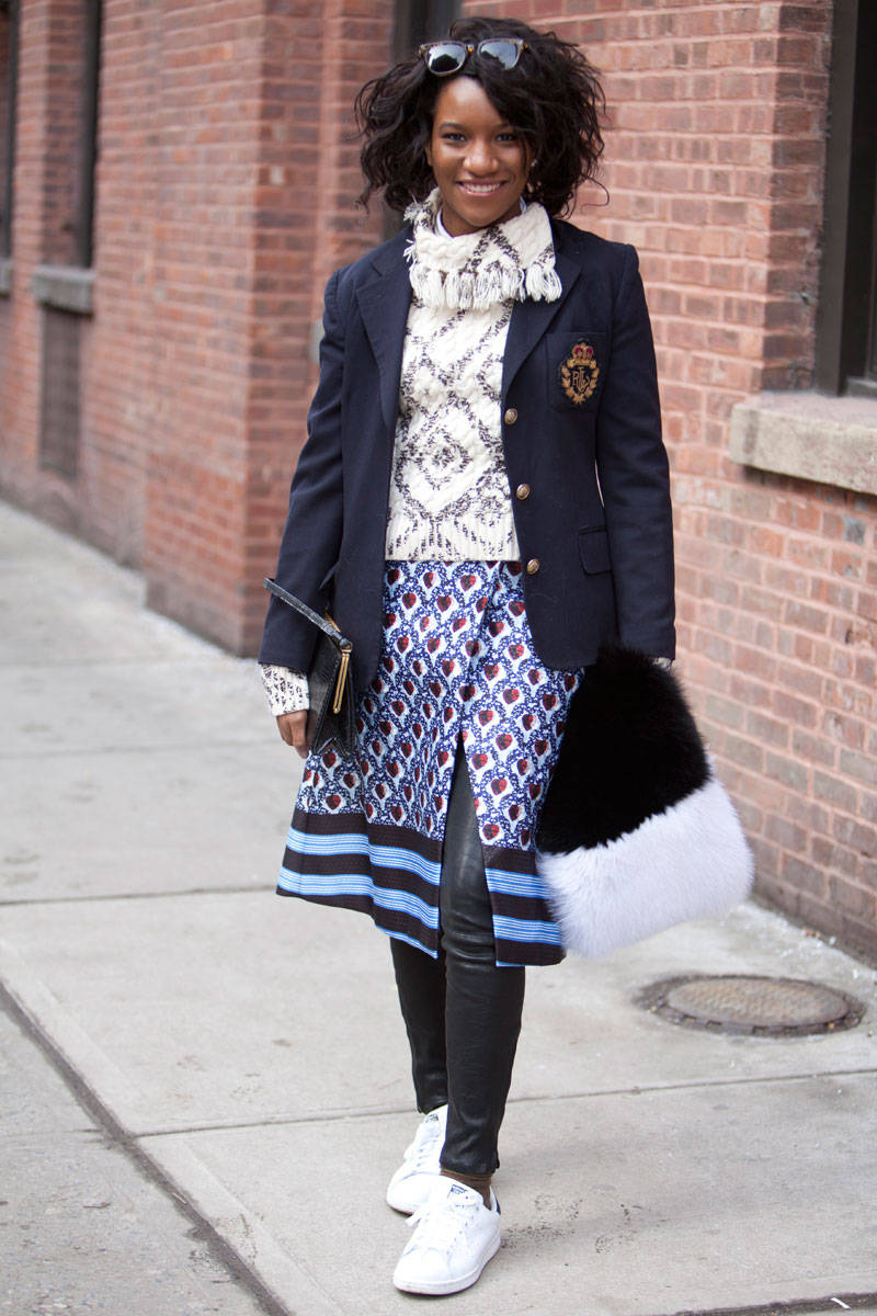 elle 05 street style nyfw fw 2014 wednesday v xln How Stan Smiths Sneakers Became Fashions Hottest Trend