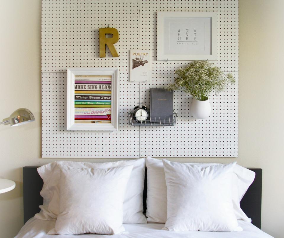 pegboardheadboard2 10 DIY Headboard Ideas to Spruce Up Any Bedroom