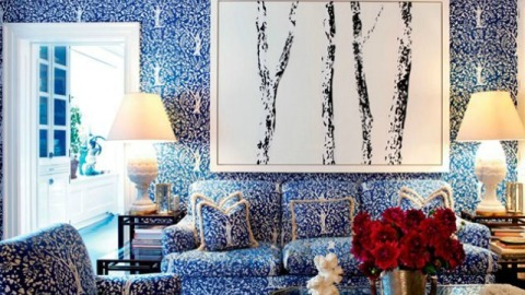 Steal This Decor Trick From Tory Burch: Match Your Wallpaper To Your Furniture | StyleCaster