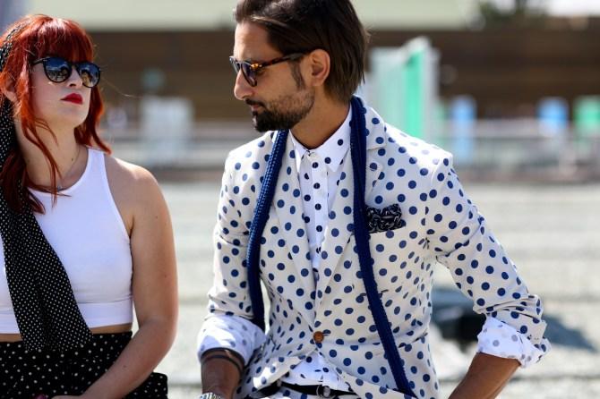 menswear polka dot suit