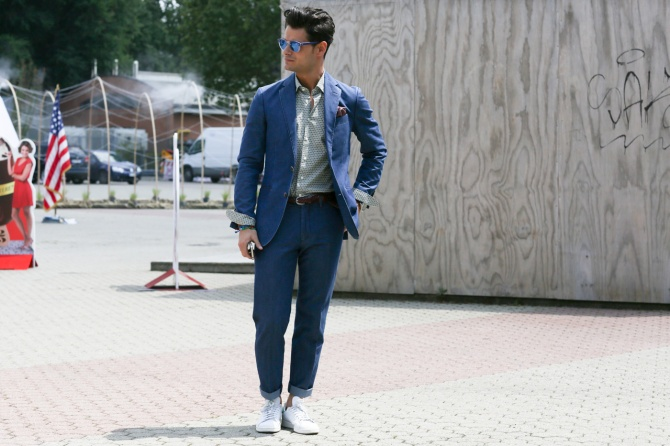 menswear suit and sneakers