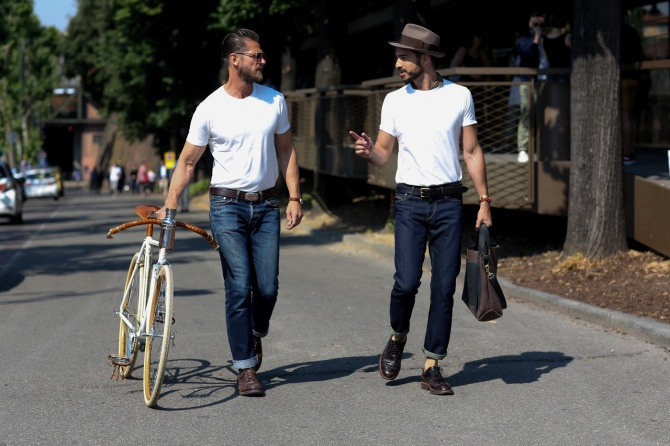 menswear white tee and jeans