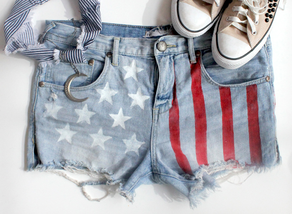 DIY american flag denim shorts sexy hipster