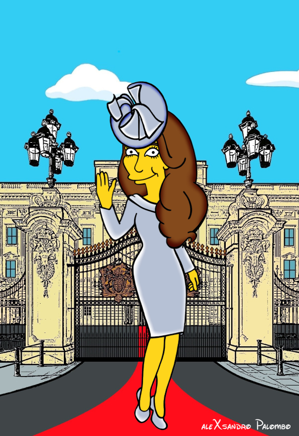 Princess Kate Middleton  Duchess of Cambridge and Queen Elizabeth Simpsonized The Simpsons Buckingham Palace  Art Cartoon Illustration Style Best Dresses Look Fashion Royal Icon Artist aleXsandro Palombo Humor Chic Web10a