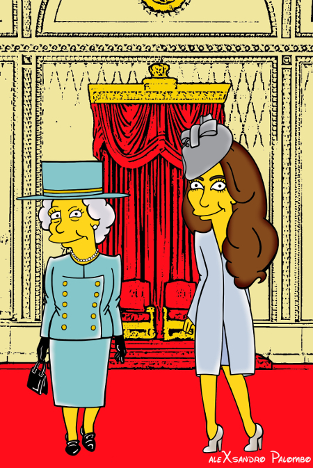 Princess Kate Middleton  Duchess of Cambridge and Queen Elizabeth Simpsonized The Simpsons Buckingham Palace  Art Cartoon Illustration Style Best Dresses Look Fashion Royal Icon Artist aleXsandro Palombo Humor Chic Web9
