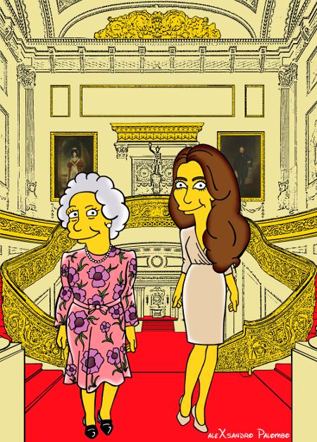 Princess Kate Middleton  Duchess of Cambridge and Queen Elizabeth Simpsonized The Simpsons Buckingham Palace  Art Cartoon Illustration Style Best Dresses Look Fashion Royal Icon Artist aleXsandro Palombo Humor Chic Web7