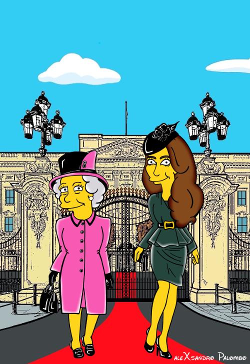 Princess Kate Middleton  Duchess of Cambridge and Queen Elizabeth Simpsonized The Simpsons Buckingham Palace  Art Cartoon Illustration Style Best Dresses Look Fashion Royal Icon Artist aleXsandro Palombo Humor Chic Web6