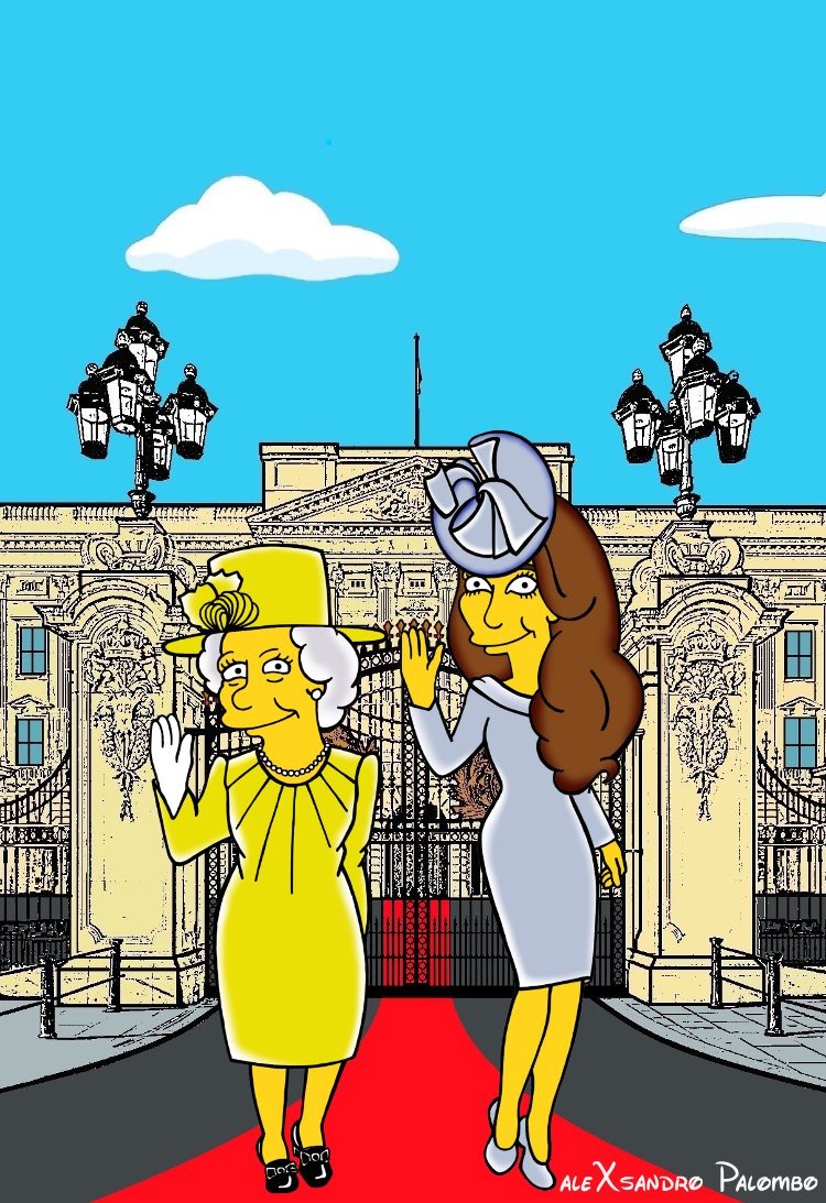 Princess Kate Middleton  Duchess of Cambridge and Queen Elizabeth Simpsonized The Simpsons Buckingham Palace  Art Cartoon Illustration Style Best Dresses Look Fashion Royal Icon Artist aleXsandro Palombo Humor Chic Web6 a